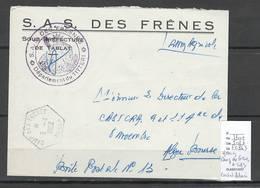 Algerie -Lettre - Cachet Hexagonal CAMP DES FRENES   + Cachet Administratif SAS - Marcophilie - Algeria (1924-1962)