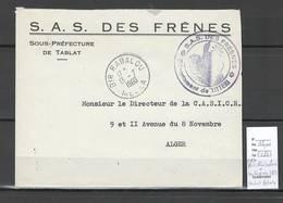 Algerie -Lettre - Cachet FM LES FRENES SAS + Cad BIR RABALOU - Marcophilie - Algeria (1924-1962)