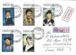 Laos 2015 Vientiane Costume Local Tribes Registered Express Cover - Costumes