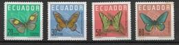 ECUADOR 1964 BUTTERFLIES MNH - Butterflies