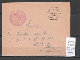 Algerie -Lettre - Cachet Hexagonal HASSI BAHBAH   + Cachet Administratif  SAS- Marcophilie - Algeria (1924-1962)
