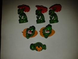 Lot De 6 Figurines Tortues Kinder Ferrero : 3 Flora - 2 Robinson - 1 Dandy (toutes Avec Accessoires) - Animals