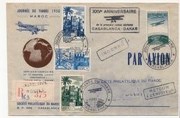 MAROC - Env. Journée Du Timbre 1950 + XXVe Anniversaire De La 1ere Liaison Aérienne CASABLANCA DAKAR - Marokko (1956-...)