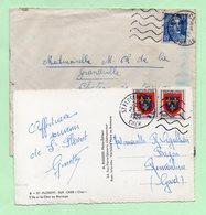 """2 DAGUIN MUETS -  """"St-FLORENT-sur-CHER"""" + """"SAINT MARCELIN"""" - Marcophilie (Lettres)"""
