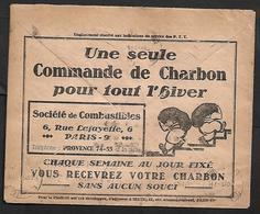 Cheque Cover France,Paris,chèques Postaux.CCP.Postes Telegraphes Et Telephones, Coal Heating - Publicités