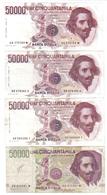 50000 Lire Bernini I° Tipo Serie A + B + D + II° Tipo Serie A Lotto.3128 - 50000 Lire