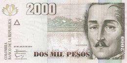 Colombia P.457  2000 Pesos 2014 Unc - Colombia