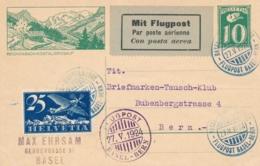 Schweiz - 1924 - 10c Postkarte + 25c Flugpost - Flugpost Basel - Bern - Luftpost