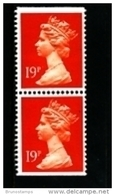 GREAT BRITAIN - 1988  MACHIN  19p. PCP  PAIR  IMPERF. TOP & BOTTOM  MINT NH  SG X956 - 1952-.... (Elizabeth II)
