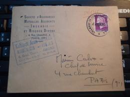 Ancienne Enveloppe Timbrée Société D'Assurances PARIS (IX°) Cachets AMIENS - PARIS - Vieux Papiers
