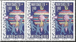 J) 1978 MEXICO, STRIP OF 3, CHRISTMAS 1978, CHILDREN CHRISTMAS DECORATIONS, SCOTT C588, MN - Mexico