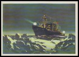 "4-296 RUSSIA 1976 POSTCARD Mint SHIP ""OB"" MurmansK Shipping BATEAU SCHIFF ARCTIC ANTARCTIC RESEARCH POLAR POLAIRE USSR - Bateaux"