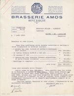 Lettre à Entête Illustrée Bleue De La Brasserie Amos (Gambrinus Avec Chope) En 1958, Capital 84.628.000, N° 56073 M - Alimentos