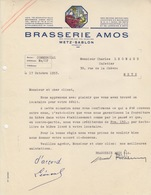 Lettre à Entête Illustrée Couleur De La Brasserie Amos (Gambrinus Avec Chope) En 1953, Capital 84.628.000 - Alimentos