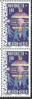 J) 1978 MEXICO, VERTICAL PAIR, CHRISTMAS 1978, CHILDREN CHRISTMAS DECORATIONS, SCOTT C588, MN - Mexico