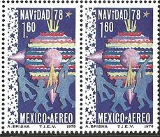 J) 1978 MEXICO, HORIZONTAL PAIR, CHRISTMAS 1978, CHILDREN CHRISTMAS DECORATIONS, SCOTT C588, MN - Mexico