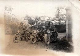 Photo Originale Moto, Motards & Motocyclisme Vers 1930/40 - Trio Infernal - Ciclismo