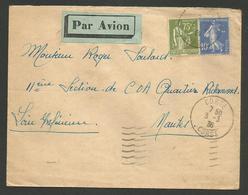 CORSE / Tarif 85c / Lettre Avion CORTE 03.03.1936 Pour NANTES / Affr.paix & Semeuse - Posttarife