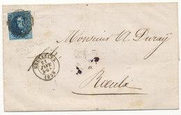 1859 BRIEF MET OCB 11A? VAN BRUXELLES NAAR ROEULX - AANKOMSTSTEMPEL LE ROEULX ZIE SCAN(S) VL - 1858-1862 Medaillons (9/12)