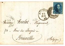 1863 BRIEF MET OCB11? VAN ANVERS NAAR BRUXELLES - AANKOMSTSTEMPEL BRUXELLES ZIE SCAN(S) VL - 1851-1857 Medaillons (6/8)