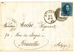 1863 BRIEF MET OCB11? VAN ANVERS NAAR BRUXELLES - AANKOMSTSTEMPEL BRUXELLES ZIE SCAN(S) VL - 1851-1857 Médaillons (6/8)