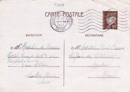 20478# ENTIER PETAIN CARTE POSTALE Obl LEVALLOIS PERRET SEINE 1942 Pour AGADIR MAROC - Marcophilie (Lettres)