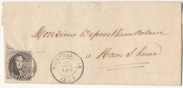 1859 BRIEF MET OCB10A? VAN CHATELINEAU NAAR HAM SUR HEURE - AANKOMSTSTEMPEL HAMEAU ZIE SCAN(S) VL - 1851-1857 Medaillen (6/8)