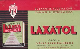 LAXATOL, LAXANTE VEGETAL QUE COMBATE EL ESTREÑIMIENTO. CIRCA 1920 PUBLICIDAD PAPEL SECANTE. MEDICINE ADVERTISING -LILHU - Produits Pharmaceutiques