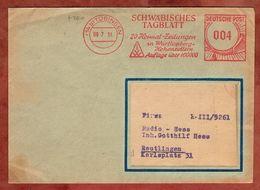 Drucksache, Absenderfreistempel, Schwaebisches Tagblatt, Tuebingen Nach Reutlingen 1951 (90819) - BRD