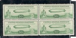 UNITED STATES1933:Michel358(Scott C18)mnh** Block Of 4(ZEPPELIN)Cat.Value400Euros($445+) - Air Mail