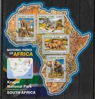 SIERRA LEONE   Feuillet N° 6025/28   * *  ( Cote 20e )  Parc Afrique Du Sud Rhinoceros Zebre Elephants Panthere - Rinocerontes