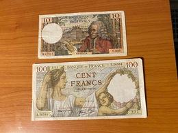 FRANCE - 2 Billets - 100f ( 4/12/1941) +10f (6/12/1973)   Port Offert - France