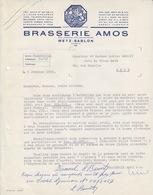 Lettre à Entête Illustrée Bleue De La Brasserie Amos (Gambrinus Avec Chope) En 1959, Capital 84.628.000, N° 5704 4 M - Alimentos