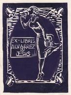 EX LIBRIS ALVARREZ D JESUS. WOMAN ILLUSTRATION. ENGRAVING GRAVURE GRABADO -LILHU - Ex-libris