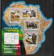 SIERRA LEONE    Feuillet N° 6009/12   * *  ( Cote 20e )  Parc Zambie Zebre Vautour Girafe Hippopotame - Jirafas