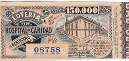 BILLETE DE LOTERIA DEL HOSPITAL DE CARIDAD DE MONTEVIDEO, URUGUAY 1916. -LILHU - Loterijbiljetten