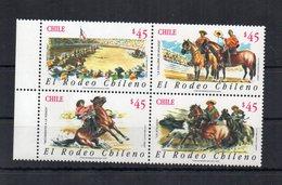 Cile - 1990 - Il Rodeo Cileno - 4 Valori - Nuovi  ** Con Bordo Foglio- (FDC19957) - Horses