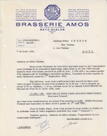 Lettre à Entête Illustrée Bleue De La Brasserie Amos (Gambrinus Avec Chope) En 1960, Capital 84.628.000, Sans N° - Alimentos