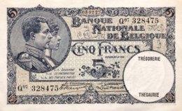 Belgium 5 Francs, P-97b (5.2.1927) - AU - [ 2] 1831-...: Belg. Königreich