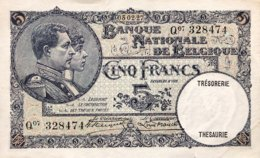 Belgium 5 Francs, P-97b (5.2.1927) - EF/XF+ - [ 2] 1831-...: Belg. Königreich