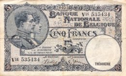 Belgium 5 Francs, P-97b (10.3.1938) - Fine - [ 2] 1831-...: Belg. Königreich