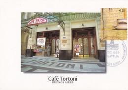 CAFE TORTONI, CAFE TRADICIONAL FUNDADO EN 1858. BUENOS AIRES. ARGENTINA 1999 FDC MAXIMUM CARD -LILHU - Getränke