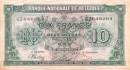 Belgium 10 Francs, P-122 (1.2.1943) - EF/XF++ - [ 2] 1831-... : Reino De Bélgica