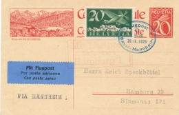 Schweiz - 1925 - 20c Postkarte + 20c Flugpost - Flugpost Basel - Mannheim - Luftpost