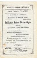 Maison-Saint-Gérard  Soirée Dramatique 1938 - Programmes