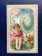"""Embossed-Gaufrée--""""Fillette Tenant Oreille Du Lapin De Pâques """"--(719) - Easter"""