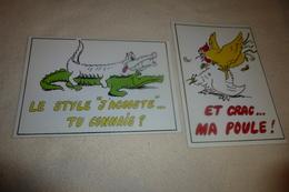 LOT DE 2 ILLUSTRATIONS HUMORISTIQUES...ANIMAUX SAUTEURS ..CRÉATION L'AVANT SCÈNE - Humour