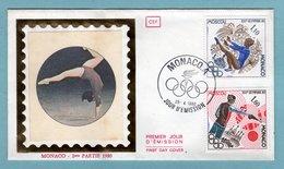 FDC Monaco 1980 - Jeux Olympiques Moscou - YT 1218 Gymnastique Et  YT 1220 Tir Au Pistolet - FDC