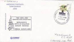 ISLAS MALVINAS ARGENTINAS, MONUMENTO GESTA DE MALVINAS, QUEQUEN NECOCHEA. ARGENTINA 2000 SPC CIRCULATED -LILHU - Storia Postale