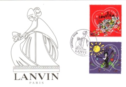 Carte Maximum YT 4431 Et 4432, 2 Coeurs Saint-Valentin Couture Lanvin, 1er Jour 08 01 2010 Paris 75 TBE Mode - Cartes-Maximum